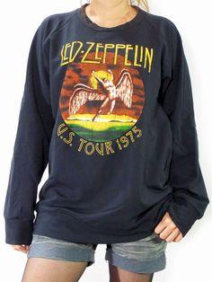 LED ZEPPELIN U.S. Tour 1975 The Legend Hard Rock Music T-Shirt Long Sleeve Sweater