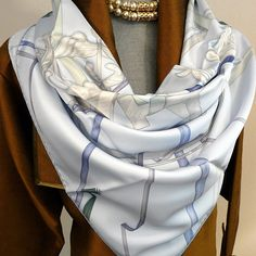 Authentic Pre Owned Hermes Silk Scarf Attrape Tes Reves or Catch Your Dream Light Blue
