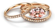 East-West morganite in rose gold