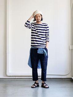 グラミッチのクロップドパンツをフェミニンに着こなしGRAMICCI MIL CROPPED PANTS Japan Fashion, Daily Fashion, Loose Pants Outfit, Muji Style, Japanese Street Fashion, Looks Style, Minimal Fashion, Men Casual, Menswear