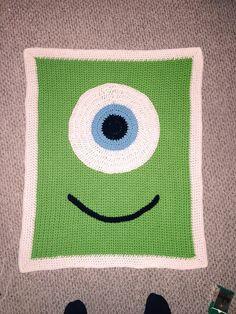 Monster Inc crocheted baby blanket Crochet Afghans, Crochet Square Blanket, Baby Blanket Crochet, Crochet Stitches, Crochet Baby, Knit Crochet, Crochet Patterns, Monsters Inc Crochet, Crochet Crafts