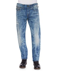 Geno Distressed & Ripped Denim Jeans