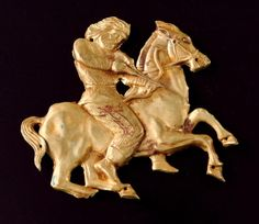 Another piece from the 5th Century BC by a Scythian goldsmith. A Eurasian tribe of horsemen who flourished during the 7th to 4th Century BC their representations of animals and men on horseback are simply glorious.