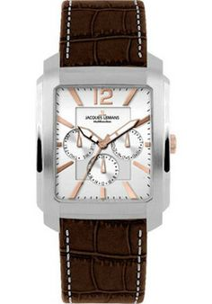 Jacques Lemans 1-1463W Men's Watch Brown Leather Strap Stainless Steel