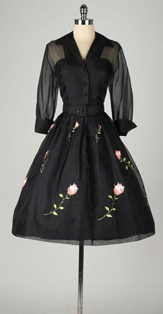 vintage 1950s dress . black silk crepe