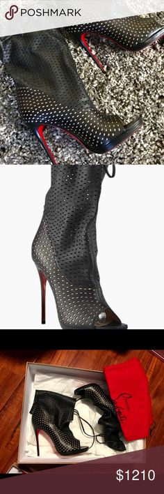 Slip resistant padding added on soles. Worn once, sat most of the evening. Mid Calf Boots, Ankle Boots, Fashion Models, Fashion Tips, Fashion Design, Fashion Trends, Christian Louboutin Outlet, Napa Leather, Awesome Shoes
