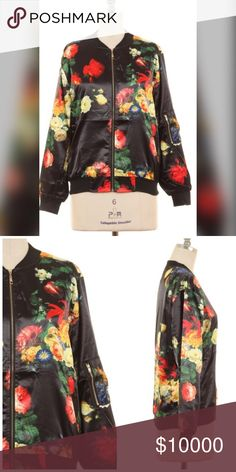 Stunning black satin floral bomber jacket Beautiful floral print with gold tone zipper detail on arm and zip closure! More photos to come! Jackets & Coats