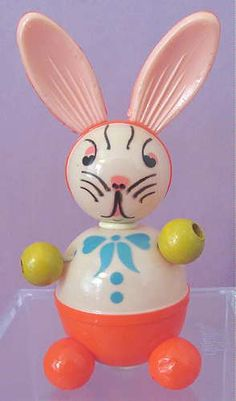 Vintage Celluloid EASTER Rabbit Children RATTLE Crib Toy