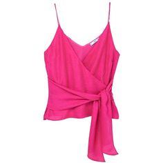 Knotted Top (130 BRL) ❤ liked on Polyvore featuring tops, embellished v neck top, pink embellished top, embellished top, v-neck tops and mango tops