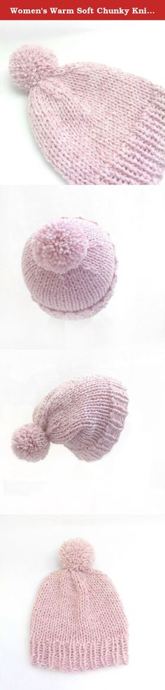 Women's Warm Soft Chunky Knit Slouchy Winter Hat in Pink with Pom Pom. What a fun knit winter slouchy hat! Super soft and chunky it's perfect for the colder months. Love the bright pink & warm cream yarn together. They give the hat a very cheerful look during long winters and its topped off with a fun pompom. This winter hat can be worn as a slouchy or fitted hat. There is a nice wide brim which allows versatility. Knit with a wool blend yarn.