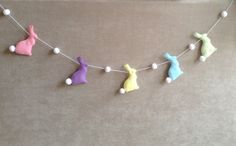Pastel Bunny Rabbit Garland  Pompom tails   by BellaandRoo on Etsy