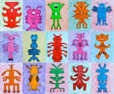 After the lesson on bilateral symmetry, we created these symmetrical monsters. With a piece of cardboard folded in half, scissors, glue, markers and a bit of imagination, each student have created his monster, and have decorated the silhouette with a black marker. The background was drawn with contour lines repeated around the figure. Each student, finally, gave a name to his monster, because after so much work, we were fond of our puppies!