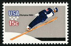 The Olympic Winter Games commemorative stamps were first placed on sale at Lake Placid, New York, on February The block of four stamps fea. Commemorative Stamps, United States Postal Service, Old Stamps, Ski Jumping, Usa Olympics, Stamp Collecting, Olympic Games, Art Google, Postage Stamps