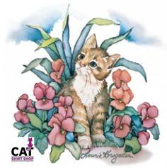 Kitten & Pansies Cat Shirt, playful kitty, cat garden, ladies blouse, Sm - 5X