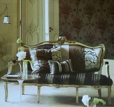Louis XV style sofa upholstered in Designers Guild Taillandier fabrics (photo from the fabric sample book)