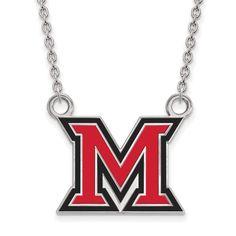 Sterling Silver LogoArt Miami University Large Enamel Pendant w/Necklace