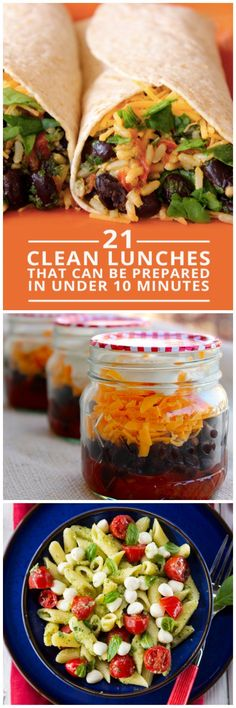 21 Clean Lunches Prepared in Under 10 Minutes - eat clean all day long! #cleaneating #lunches #mealplanning #vegetarian #recipes #healthy #food #recipe
