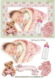 SWEET DREAMS BABY GIRL IN FLORAL FRAME on Craftsuprint designed by Nick Bowley - SWEET DREAMS BABY GIRL IN FLORAL FRAME, With cute teddy and bottle makes a lovely baby card,... matching insert cup543278_415 - Now available for download!