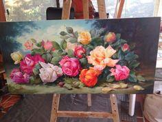 Rose Oil Painting, Flower Painting Canvas, Flower Canvas, Flower Art, Canvas Art, Wall Art Pictures, Beautiful Paintings, Art Drawings, Roses