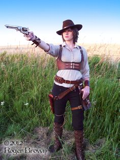 Steampunk Shoot July 2012 #2 by Steampunked-Out.deviantart.com -- not what i think of with steampunk, but i can go for the cowgirl look too