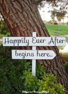 HaPPiLY EVeR AfTeR BeGiNs HeRe - DiReCTioNaL WeDDiNg SiGnS -Simple Handwriting - 4ft Stake - Distressed White. $54.95, via Etsy.