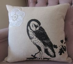 {owl on linen pillow cushion} Track and Field Designs