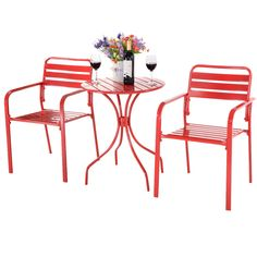 3PC Bistro Round Table Chair Furniture Set Table Patio Steel Bright - Furniture