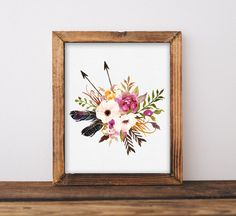 Feathers and Arrows Watercolor Floral by INVITEDbyAudriana on Etsy