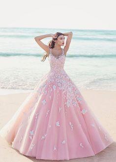 2017 Custom Charming Pink Ball Gown,Applique Beading Wedding Dress,Pretty Spaghetti Straps Bridal Dress
