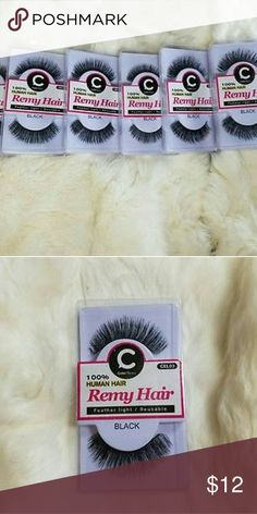 100% Remy Hair Black Eyelashes Made with 100% Virgin Remy Hair that bares an undeniably light band, lashes are super soft and light as a feather. Lashes blend perfectly with your natural lash for a glamorous look no matter where you're wearing them.   6 Pair of lashes 100% premium remy hair Makeup False Eyelashes