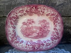 Red CLARICE CLIFF Tonquin Red Transferware by CottonCreekCottage