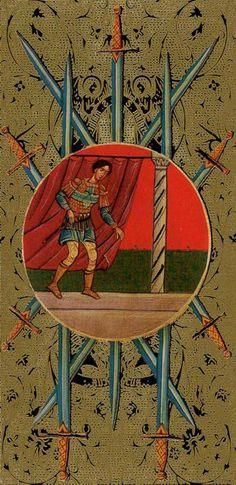 Seven of Swords - Golden Tarot of the Tsar by Atanas Alexandrov Atanassov