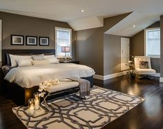 Beautiful Bedroom Decor - perfect design just needs a palette that's a tad lighter and softer