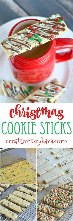 Chocolate Drizzled Christmas Cookie Sticks are perfect for dunking in your hot cocoa or coffee. An easy Christmas cookie recipe that everyone loves. christmas food and drinks Easy Christmas Cookie Recipes, Christmas Cookie Exchange, Christmas Snacks, Christmas Cooking, Christmas Goodies, Holiday Recipes, Christmas Candy, Holiday Foods, Christmas Sprinkles