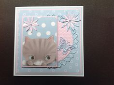 Made by Diane Jarvis - I used the Little Meow Ultimate Die-cut & paper pack plus various dies Cat Crafts, Paper Crafts, Die Cut Paper, Birthday Cards, Dog Cat, Card Making, Dots, Frame, Projects