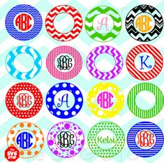 Chevron Stripes & Dots circle monogram frames SVG and by SVGstop