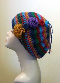 Crocheted  Beret Hat  Boho Hat  Multi Colour Beret ♡ by jazzicrafts,