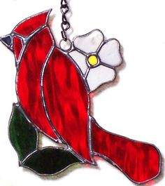 Cardinal with Flower Stained Glass