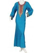 aljalabiya.com: Patterned cotton jalabiya with machine and handwork on chest and cuffs (N-10008)  $94.00