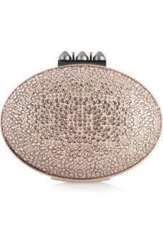 Christian Louboutin Mina Swarovski crystal-embellished metallic nubuck clutch | NET-A-PORTER