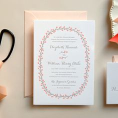 Coral and Pink Floral Letterpress Wedding Invitation | Daily Sip Studios | Kimberly FitzSimons