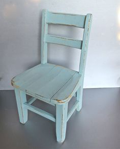 Vintage Child's Chair Blue Chair Old Chair Rustic by Swede13, $58.00