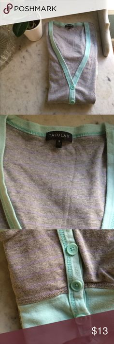 Aritzia Talula cotton cardigan Soft cotton cardigan sweater in heated grey,purple stripes and teal edges. Some very light fading but otherwise is very good preloved condition Aritzia Sweaters Cardigans