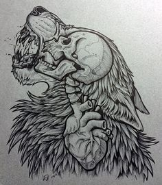 Edit- okay so this has turned out to be my most stolen image. Please do not alter/copy for commercial use. This includes promotion of your website, band and tshirt company. I hold the copyrights to. Not my photo all rights to original owner^^ Tattoo Design Drawings, Tattoo Sketches, Cool Drawings, Drawing Sketches, Drawing Drawing, Wolf Tattoos, Skull Tattoos, Body Art Tattoos, Tattoo Art