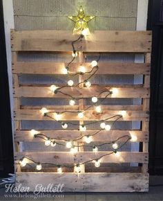 Pallet Christmas Light Tree #Christmas #tree #lights #décor #DIY #crafts #holiday