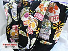 Day of the Dead Sugar Skull - lining is available in Lilac or Black - Diaper Bag/ Large Purse/ Tote