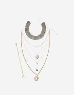 Set of 6: choker necklace and long necklaces with stones - Just in | Stradivarius México