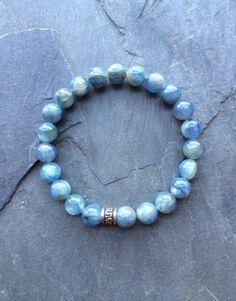 Genuine Blue Kyanite w/ a Sterling Silver Charm Bracelet ~ Restoring Energy Balance