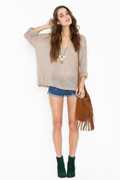 LOVE this look!! Maddy Over sized Knit: Cozy marled taupe wool knit featuring a loose weave and ribbed v neckline, cuff and hem. Oversized fit. Looks rad paired with a maxi dress or tap shorts! By Brandy & Melville.
