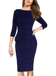Women's Wear to Work Dresses - Viwenni Womens Vintage Cocktail Party Tunic Sheath Pencil work to wear Wedding Dress >>> You can get additional details at the image link.